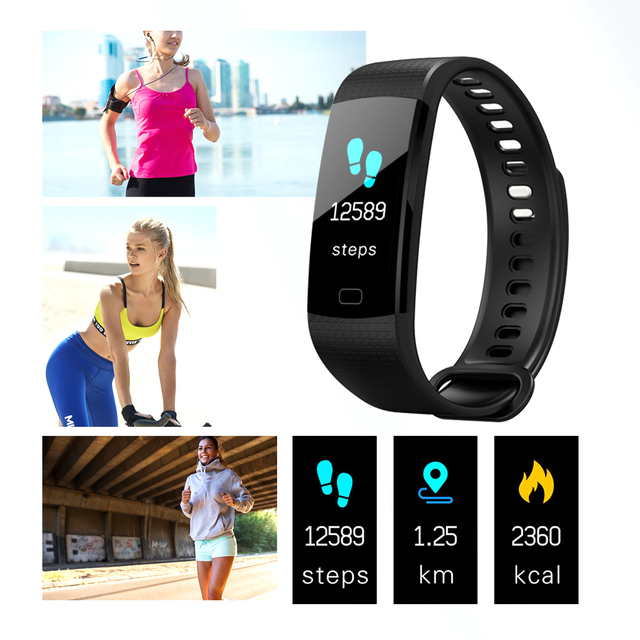 Color Screen Smart Bracelet Sports Pedometer Watch Fitness Running Walking Tracker Heart Rate Pedometer Smart Band