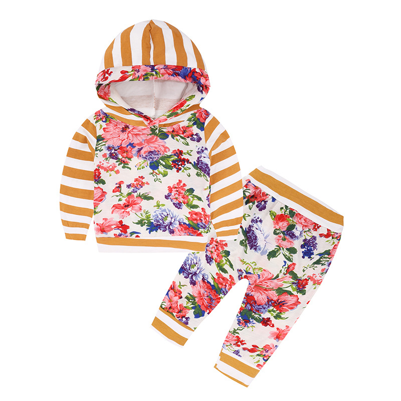 Newborn Baby Girls Clothes Long Sleeve Hooded T-shirt Tops+ Pants Leggings Outfits Clothes Fashion flowers Baby Clothing Set