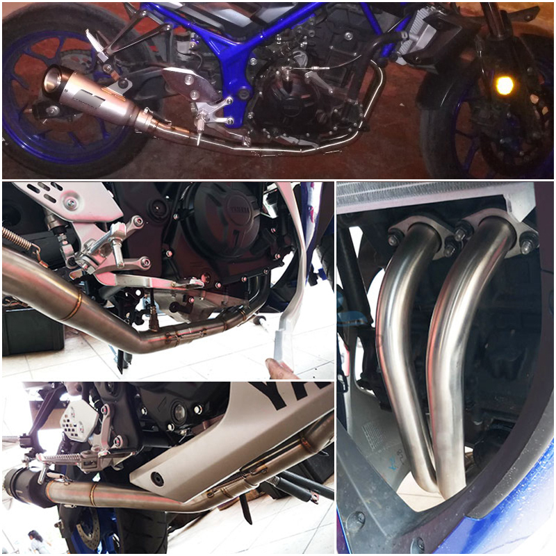 MT03 R25 R3 Full Connecting Pipe Link 51mm Exhaust Muffler Pipe Silencer System for Yamaha R25 R3 MT03 in Exhaust Exhaust Systems from Automobiles Motorcycles