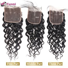 Funmi Indian Water Wave Lace Closure 100% Virgin Human Hair Lace Closure 4X4 Free Part Lace Closure Medium Brown Swiss Lace(China)