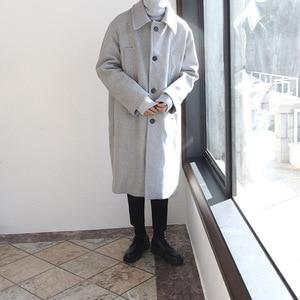 Image 3 - Casual Koreanische Stil Männer Wolle Mischung Mantel Lange Kaschmir Jacke Einreiher Herren Mäntel
