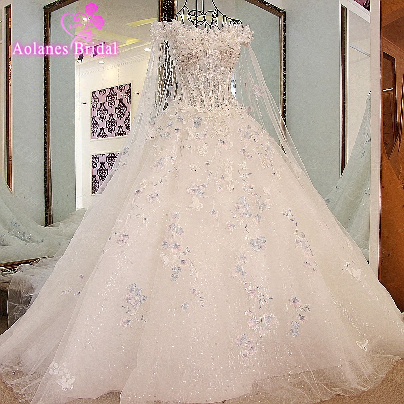 Real Photo Vestido De Noiva Elegant A-line Appliqued Long Train Wedding Dresses Crystals Pearls Tulle Bridal Wedding Dress 2017