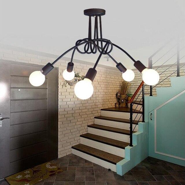 Loft Schwarz Nordeuropa Küche Moderne Deckenleuchten Led E27 Eisen  Dekoration Lampe Leuchten Für Wohnzimmer Home Schlafzimmer