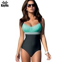 KayVis New One Piece Swimsuit 2017 Sexy Swimwear Women Stripe Retro Bathing Suit Swim Vintage Beach