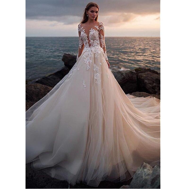 LORIE Lace Wedding Dresses 2019 Illusion Long Sleeve Long Train Lace With Appliques vestido de casamento