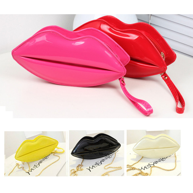 1 pc Popular Sexy Lip Shape  Handbag Women Lip Purse Evening  Bag Shoulder Bag Chain  Clutch Handbags -- BIA193 PR49