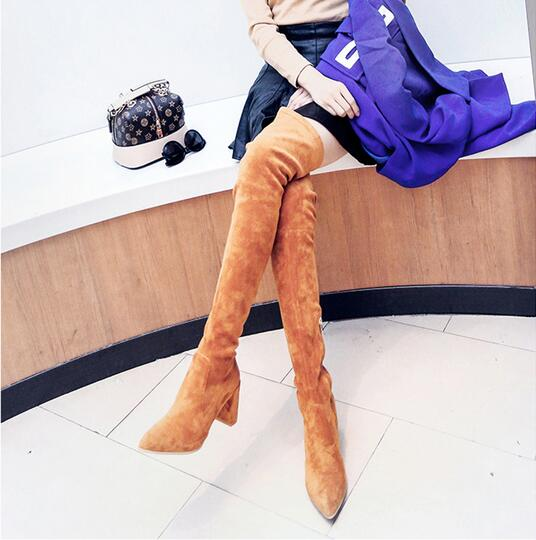 Women Boot Suede High Quality Brand Thigh High Boots Pointed Toe Over The Knee High Heels 10.5 CM Boot Long Boots Size 33-42 kaypro краска для волос kay direct шоколадный 100 мл