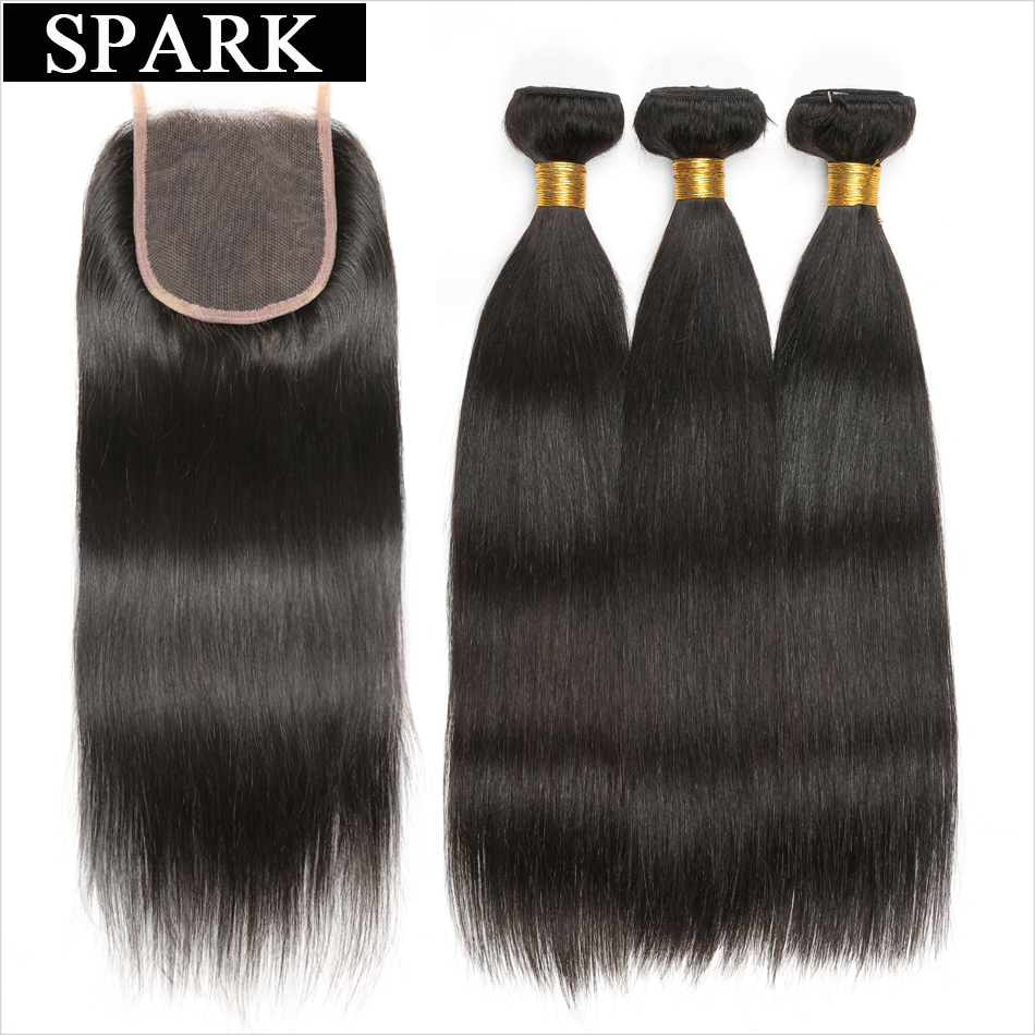 Spark Brazilian Straight Hair 3 Bundles With Closure 4st / Lot Human - Mänskligt hår (svart)
