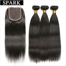 Spark Brazilian Straight Hair 3 Bundles with Closure 4 vnt / Lot žmogaus plaukų paketai su nėrinių uždarymu Non Remy Hair galima dažyti