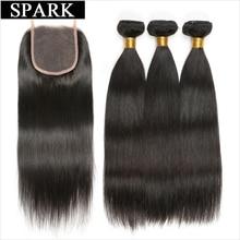 Gnist brasiliansk straight Hair 3 Bundles med lukning 4pcs / Lot Human Hair Bundles med Lace Closure Non Remy Hair kan farves