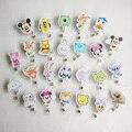 26 pçs/lote Dos Desenhos Animados Retrátil Puxar Reel Emblema Dos Desenhos Animados Tag ID Card Badge Holder Clip 26 padrão para Crianças