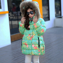 Thumbaby Winter New Jacket Down Coat Baby Girls Clothing Fashion Down Jackets Girls Long style Cotton