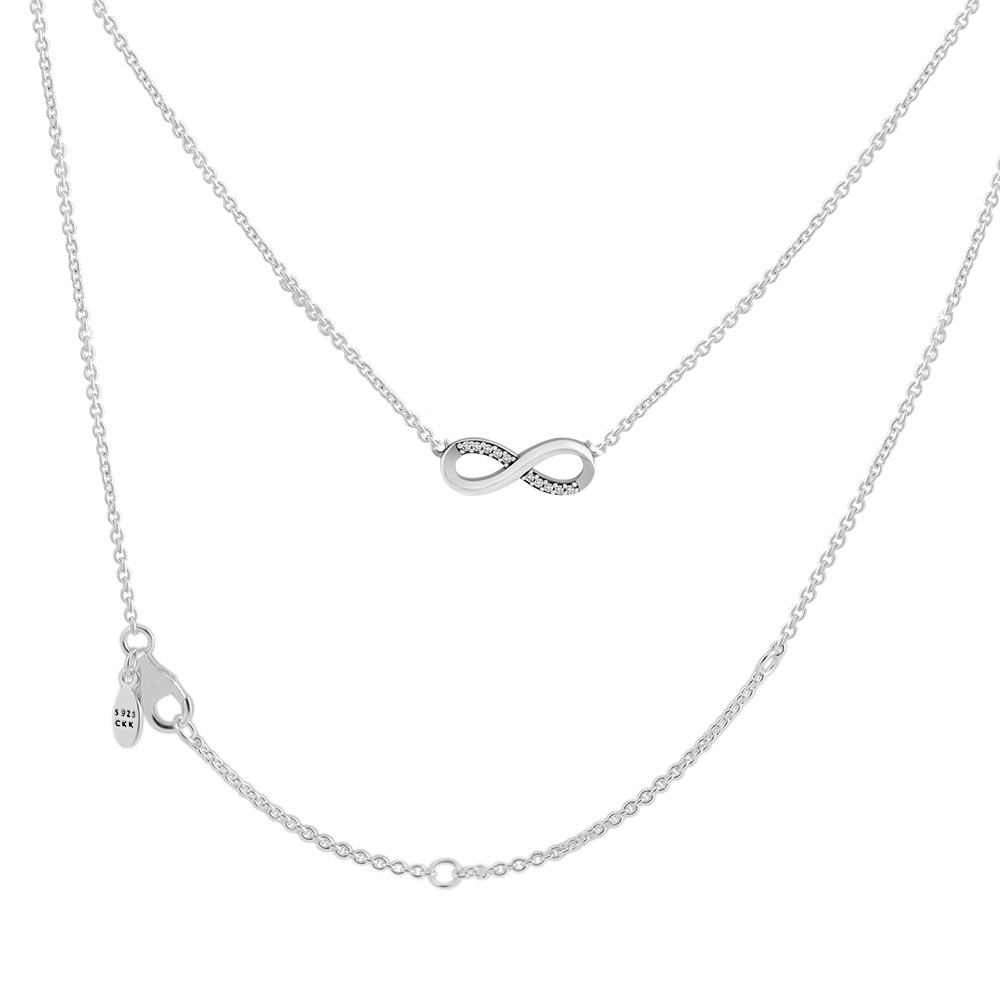 Infinite Love Necklace 100% 925 Sterling Silver Jewelry Free Shipping