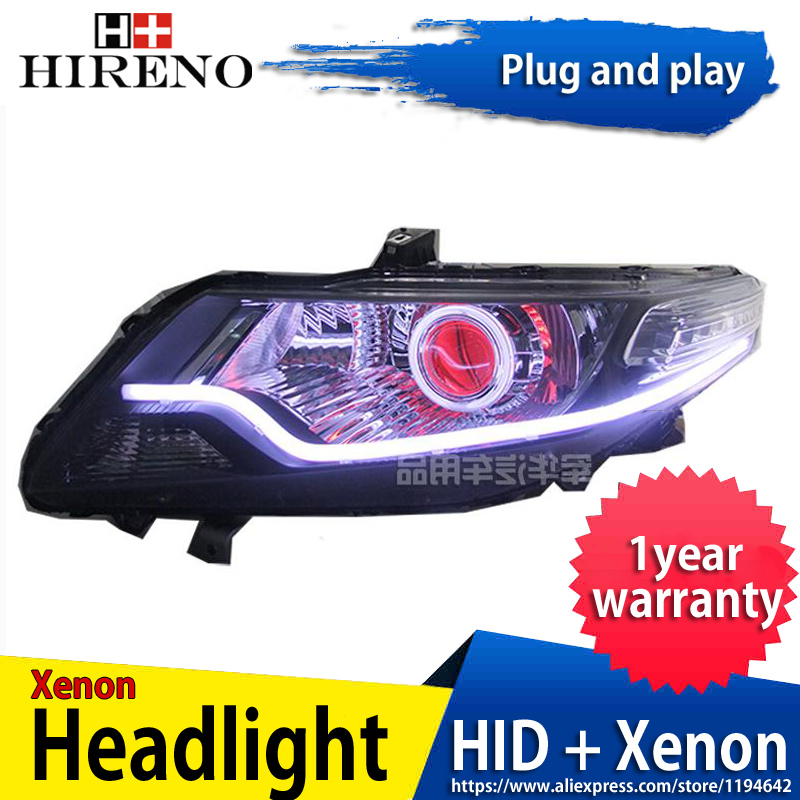 Car custom Modified Xenon Headlamp for Honda city 2008-14 Headlights Assembly Car styling Angel Lens HID 2pcs hireno headlamp for mercedes benz w163 ml320 ml280 ml350 ml430 headlight assembly led drl angel lens double beam hid xenon 2pcs