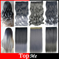 "24"" 5 Clip in Hair Extension One Piece Synthetic Hairpiece Women Hair Extensions Black Grey Color Long High Tempreture Hairpiece"