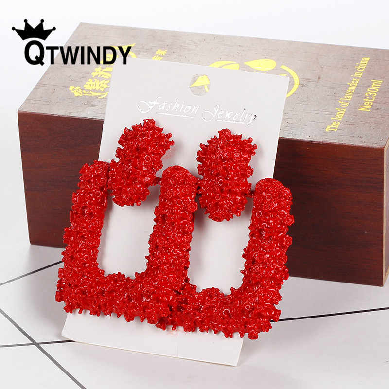 QTWINDY Heavy Metal Earrings Big Geometric Statement Earrings For Women Hanging Vintage boucle d'oreille femme 2019 pendientes