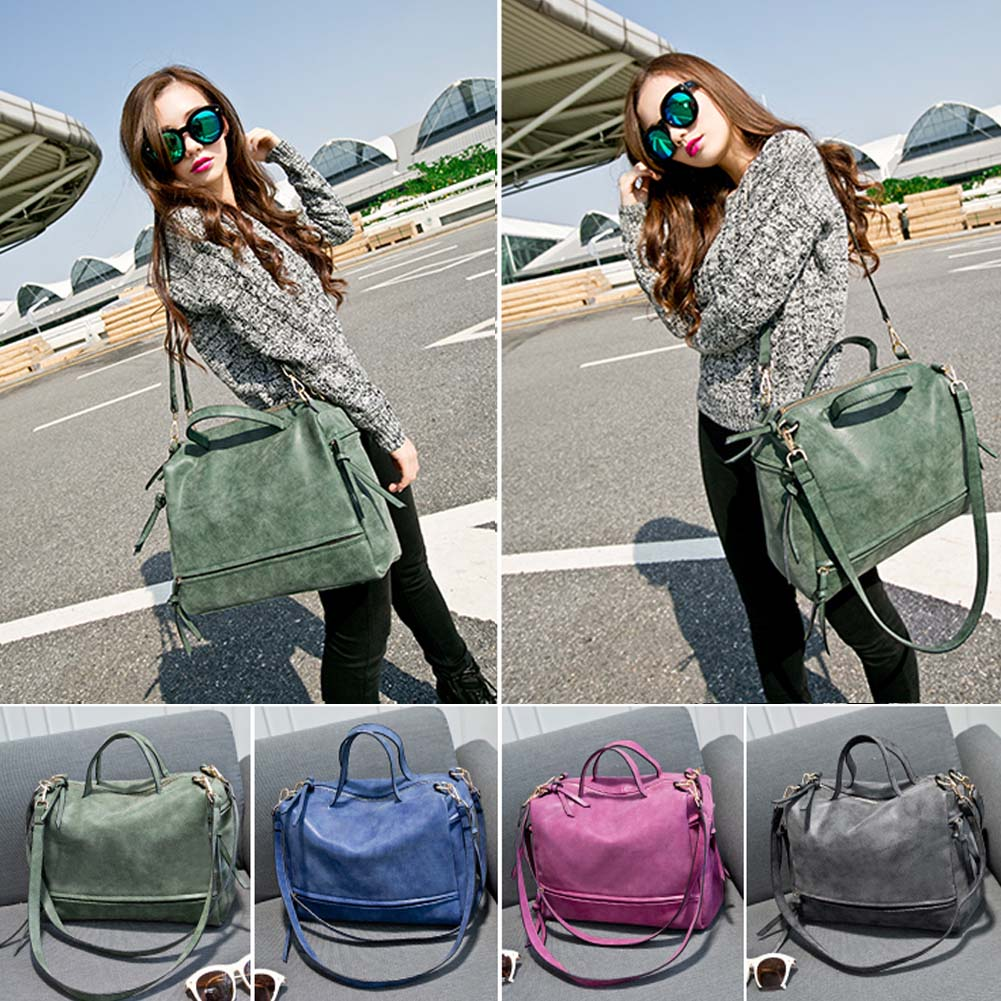 retro Rivet Nubuck Leather Women Bag Fashion Tassel Messenger Bag Tote Bags Large Capacity Women Shoulder Bag Bolsas Feminina european style women tassel big leather tote bag solid color classic lady handbag large capacity travel bags bolsas feminina