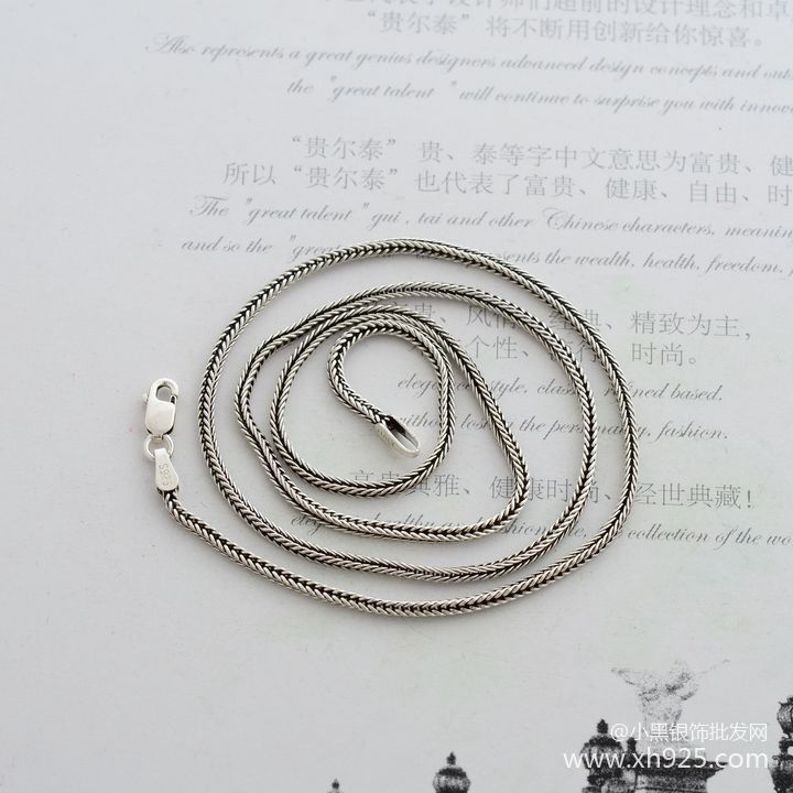 925 sterling silver necklace, thick 1.6 mm fox tails Snake chain - Fine Jewelry - Photo 3