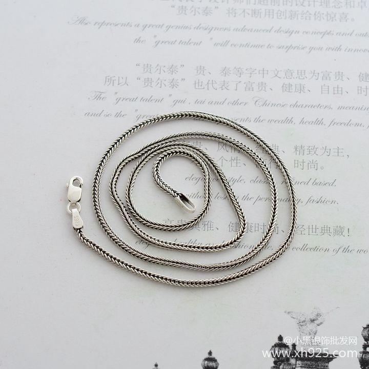 925 스털링 실버 목걸이, 두꺼운 1.6 mm 여우 꼬리 뱀 - 화인 주얼리 - 사진 3