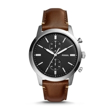 FOSSIL Townsman 44MM Quartz Chronograph Watch with Brown Leather Strap Brand Wrist for Men FS5280