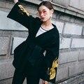 [XITAO] оригинальный дизайн Европа ветер женщины золотой журавль складной веер вышивка ткань пальто случайные женщины V-образным Вырезом плащ смеси BF001