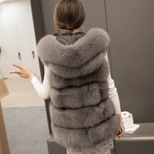 Image 2 - High quality Fur Vest coat Luxury Faux Fox Warm Women Coat Vests Winter Fashion furs Womens Coats Jacket