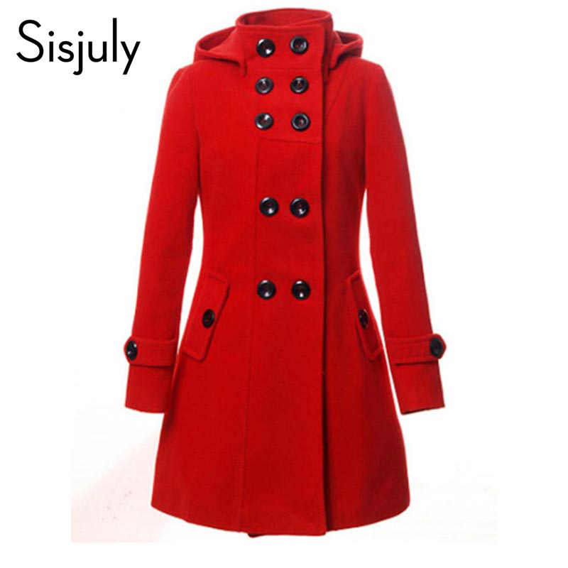 Sisjuly Hooded Trench Women Coat Winter Double Breasted Solid Button Wool Coat 2019 Autumn Fashion Fall Outerwear Coat Girl