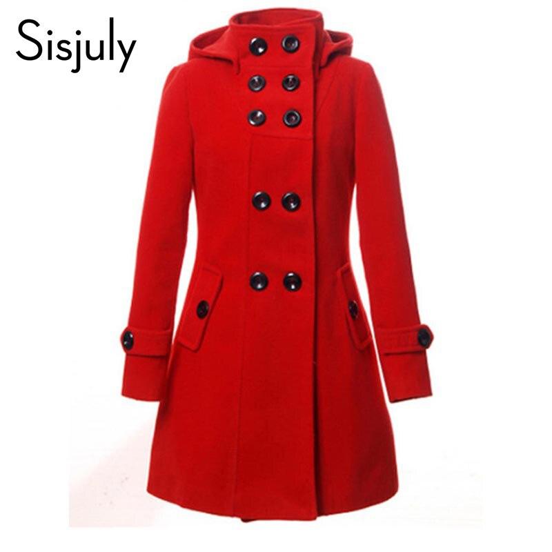 Sisjuly Тренч с капюшоном Для женщин пальто зимнее двубортное пуховое пальто на кнопках 2018 осень мода осень верхняя одежда пальто для девочек