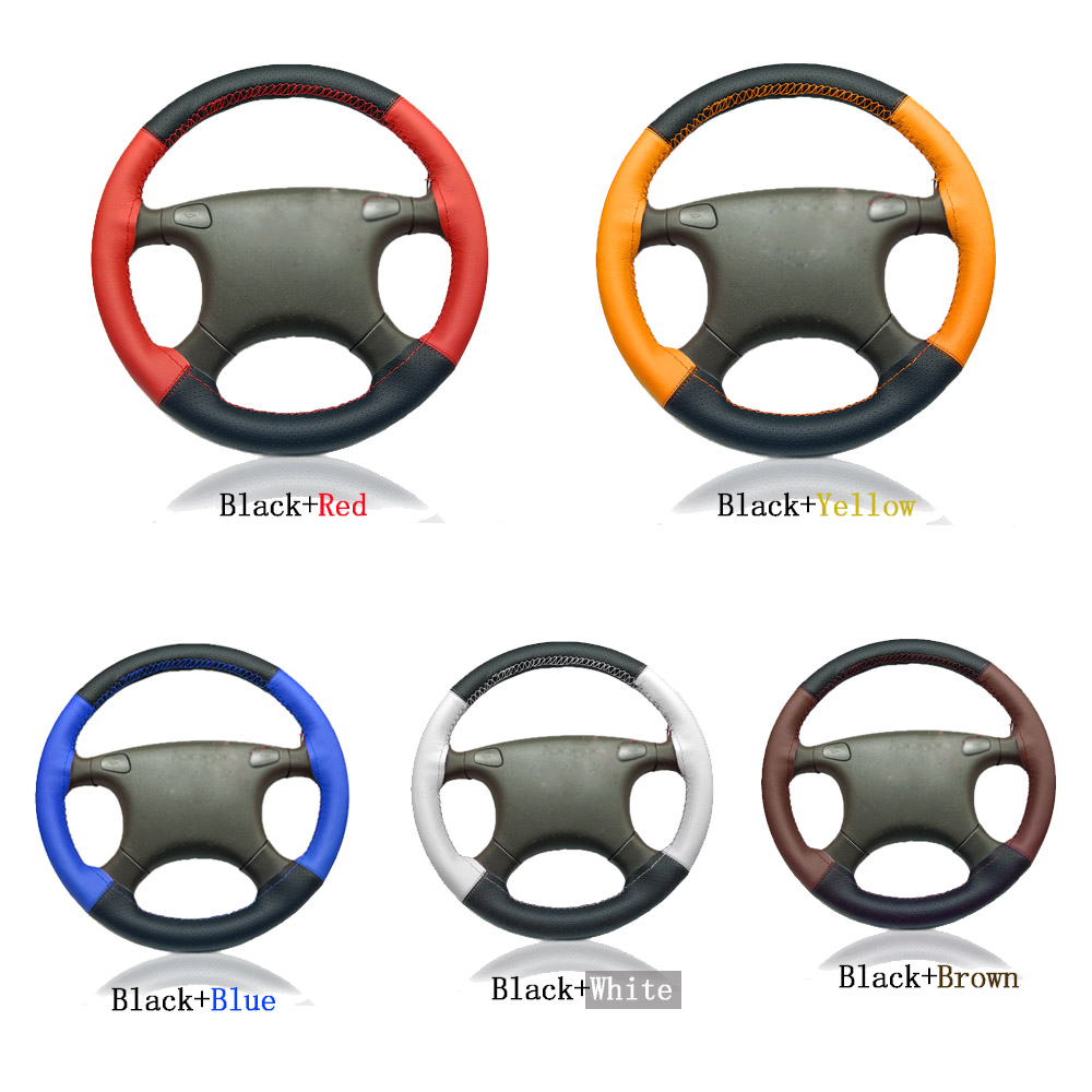 CNIKESIN car steering wheel cover 7Color Two-color stitching S M L size fits 36cm 38cm 40cm soft leather Sport handlebar braid perforated breathable skidproof steering wheel cover diameter 36cm 38cm 40cm fiber leather handlebar braid car covers