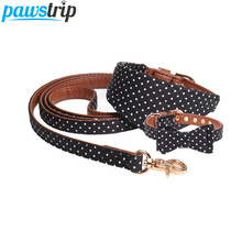 pawstrip 4 Colors Dot Small Dog Collar Bandana Soft Leather Leash Cute Bow Cat Pet Teacup Chihuahua Lead