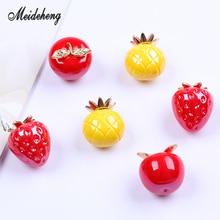 Acrylic Fruits Apple Strawberry Creamy beats Single Hole Bracelet Pendant Necklace Hair Ornament Jewelry AccessoriesWomensGifts