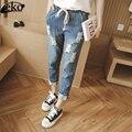 European Street Denim Calça Jeans Cintura Elástica Mulheres Harlan Calças Boyfriend Jeans Rasgado Para As Mulheres Calças Jeans Tamanho Plus Size Feminina
