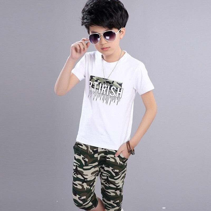 Children's Clothing Boy School Uniform Summer 3-12 Years Sports Suits Korean Camouflage Teenagers Kids Clothes Set Shirt + Pant seitokai no ichizon cosplay school boy uniform h008