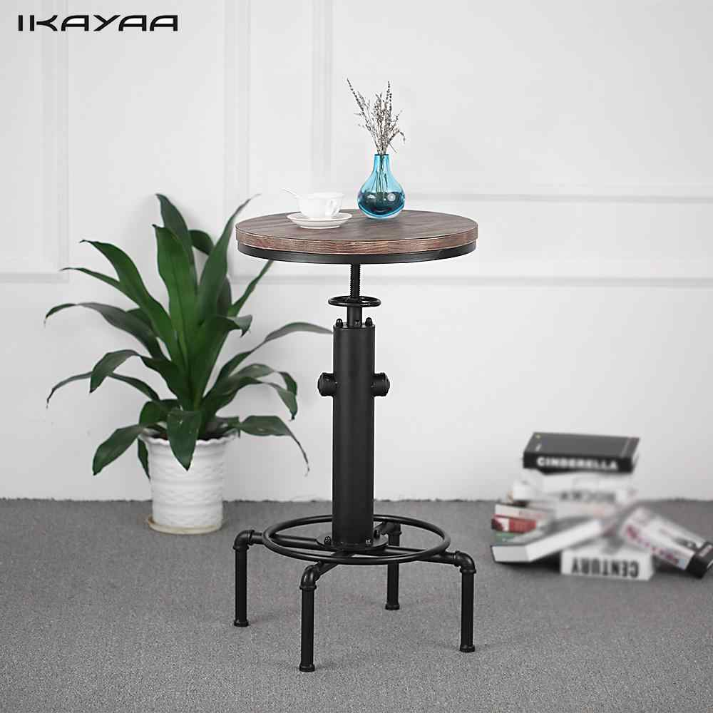 iKayaa Industrial Pipe Style Kitchen Dining Table Pinewood Top Round Pub Bar Table Height Adjustable Swivel Counter Bistro Table