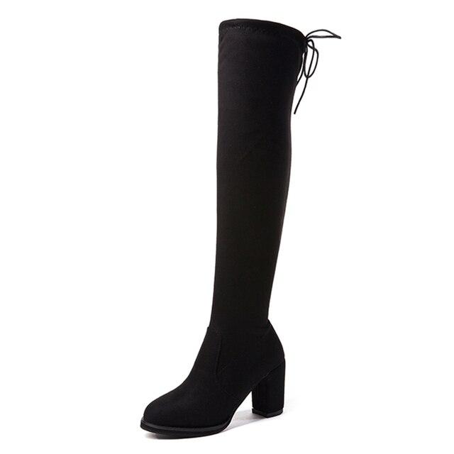 De alta del muslo moda botas sobre la rodilla arranque Stretch rebaño sobre la rodilla tacón alto botas zapatos de mujer zapatos de encaje negro de lana botas botas