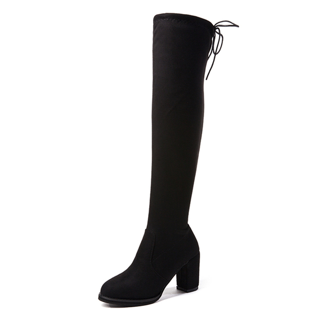 Thigh High Boots Fashion Over The Knee Boot Stretch Flock Over knee High Heels Boots Woman Shoes Black Lace Fleeces Boots Warm