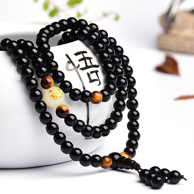 BOEYCJR Dragon Black Buddha Mala Beads Bangles&Bracelets Handmade Ethnic Glow in the Dark Bracelet 1