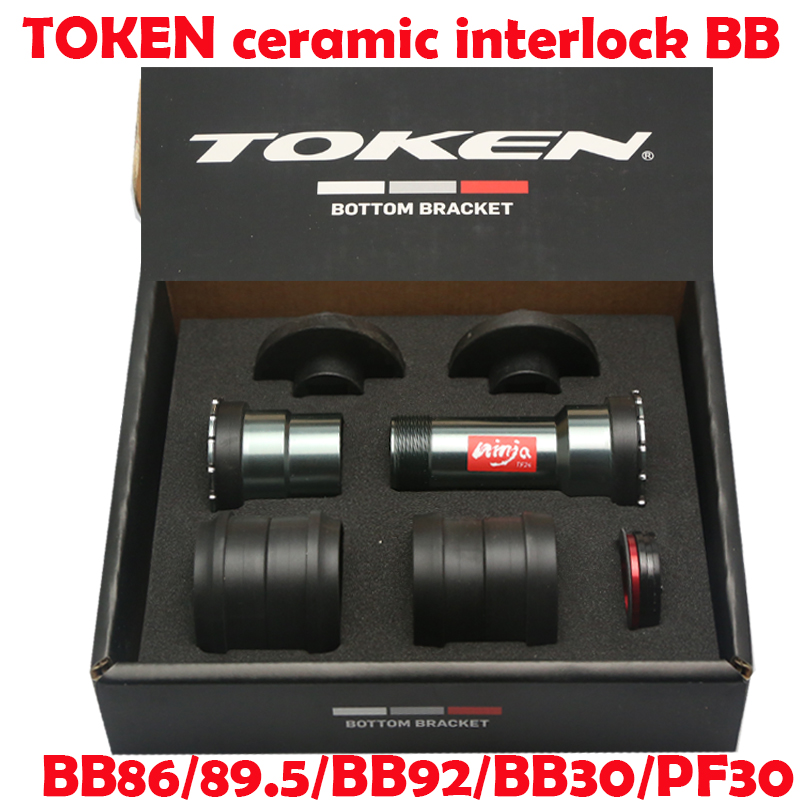 TOKEN INTERLOCK Steel/CERAMIC Bearing Thread Fit Bottom Bracket For Bb86/bb92/bb30/pf30