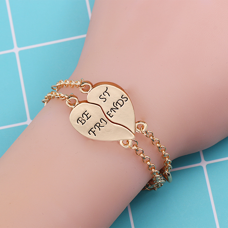 Fashion Best Friend Bracelet Set Personality Student Lettering Heart Stitching Pendant Bracelet Sister Friendship Jewelry Gift chain