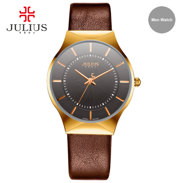 Julius ja-577 marrón de plata ultra-delgado 9mm simple reloj de la marca delgado genuino de la vaca reloj de cuero del cuarzo de japón a prueba de agua 3atm hora