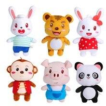 Anime Pet Soft Stuffed Animal font b Doll b font Rabbit Panda Tiger Monkey Pig Plush