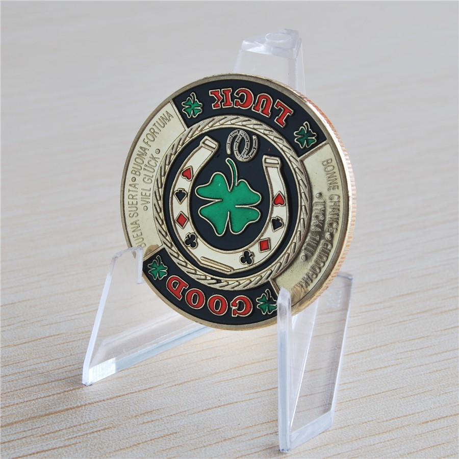 1 oz GOOD LUCK Card Poker Chip Token Finished in 24k gold Coloured clad coin, Free shipping 20pcs/lot