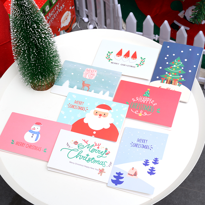 hot 24 pcs new year's merry christmas card 95x14cm