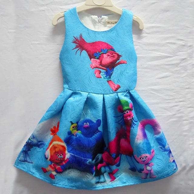 Trolls Girls Dresses 2017 Summer Sleeveless Casual Dress For Girls Clothes Trolls Cartoon Children Clothing Kids Dresses Clothes