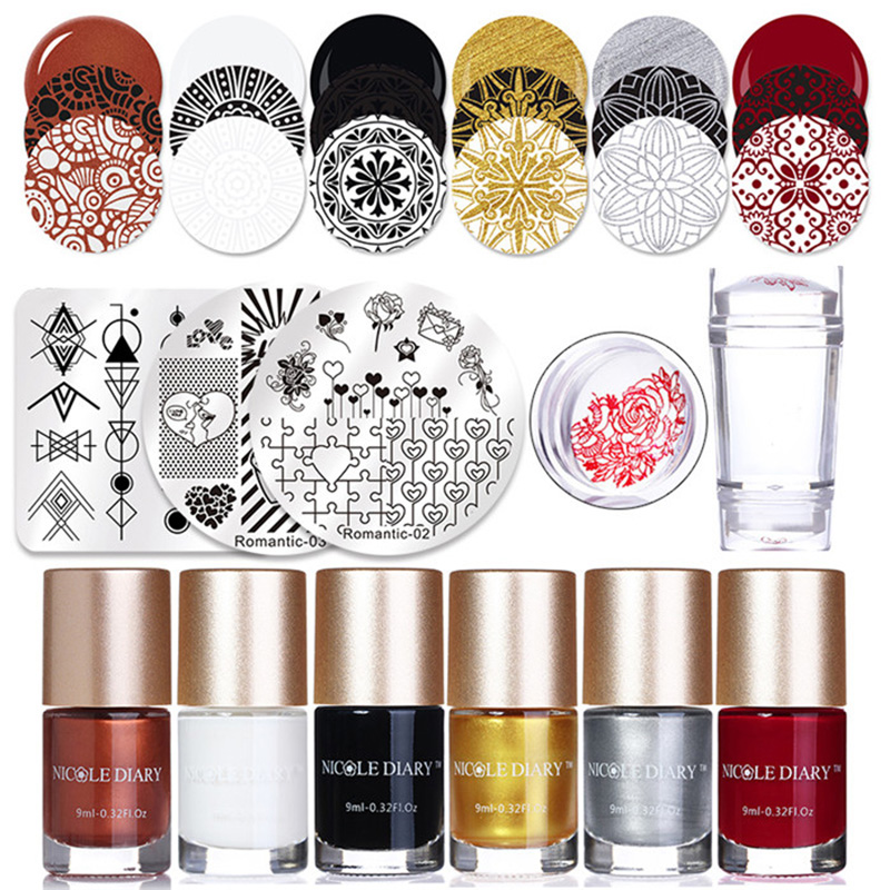 NICOLE DIARY Nail Stamping Polish Image Plates Set 12pcs Valentine Stamp Plate Printinting Polish Stamper Scraper Nail Art Tools promotion 50sets nail art polish stamping stamper scraper set manicure tools green red white 3 colors options