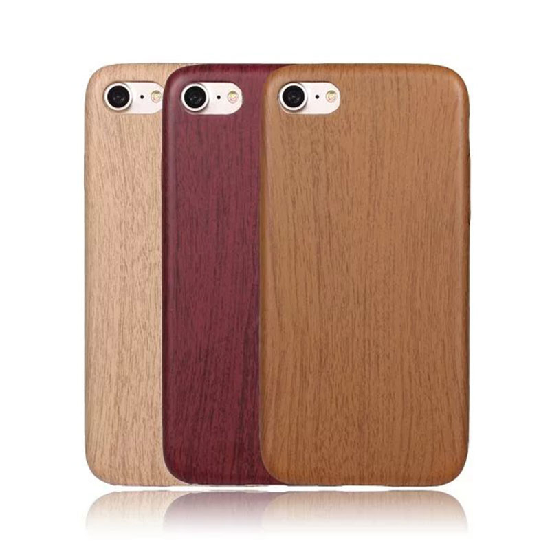 Luxury Flexible Wood Bamboo Pattern PU Leather Phone Case For iPhone 7 4.7 inch Ultra Slim Wooden Grain Back Cover Protect Shell