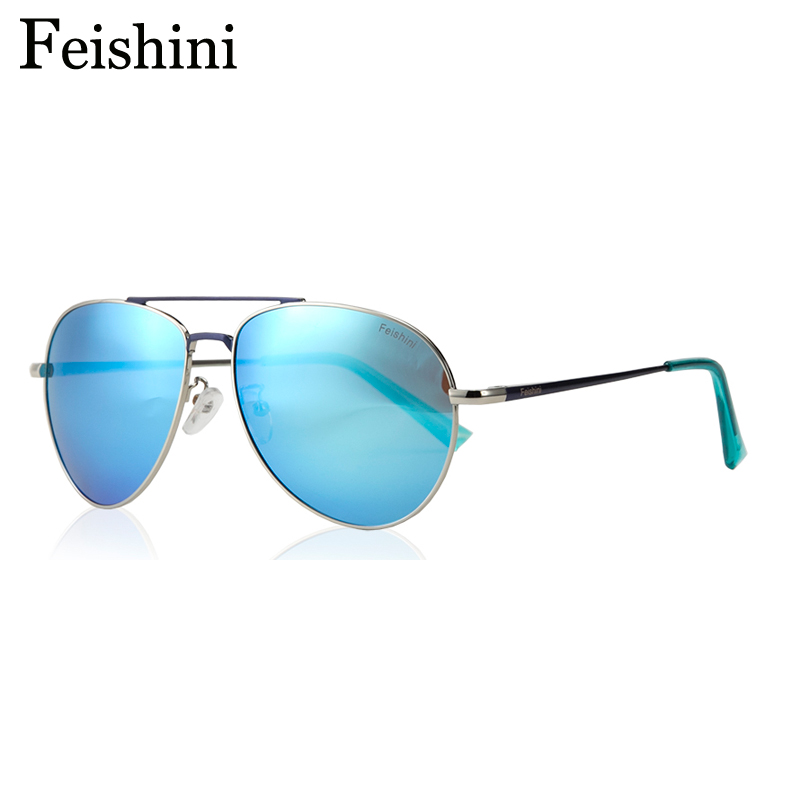 FEISHINI Classic Metal Pattern Brand Designer Luxury Gradient Mens Solglasögon Unisex Polarized Women Pilot Mirror 2019 GG