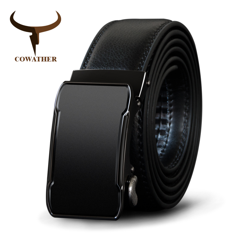 Image 2 - COWATHER Cow Genuine Leather Belt Top Quality Alloy Buckle Men Belts Automatic Buckle Cowhide Male Strap Black Brown Straps-in Men's Belts from Apparel Accessories on AliExpress