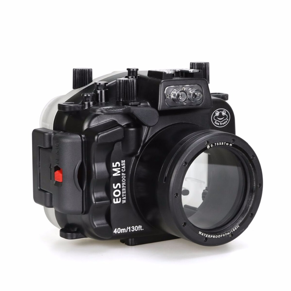 Seafrogs 40m/130ft Waterproof Underwater Camera Housing Case for Canon EOS M5 22mm mcoplus 40m 130ft waterproof underwater housing camera case bag for canon eos g16