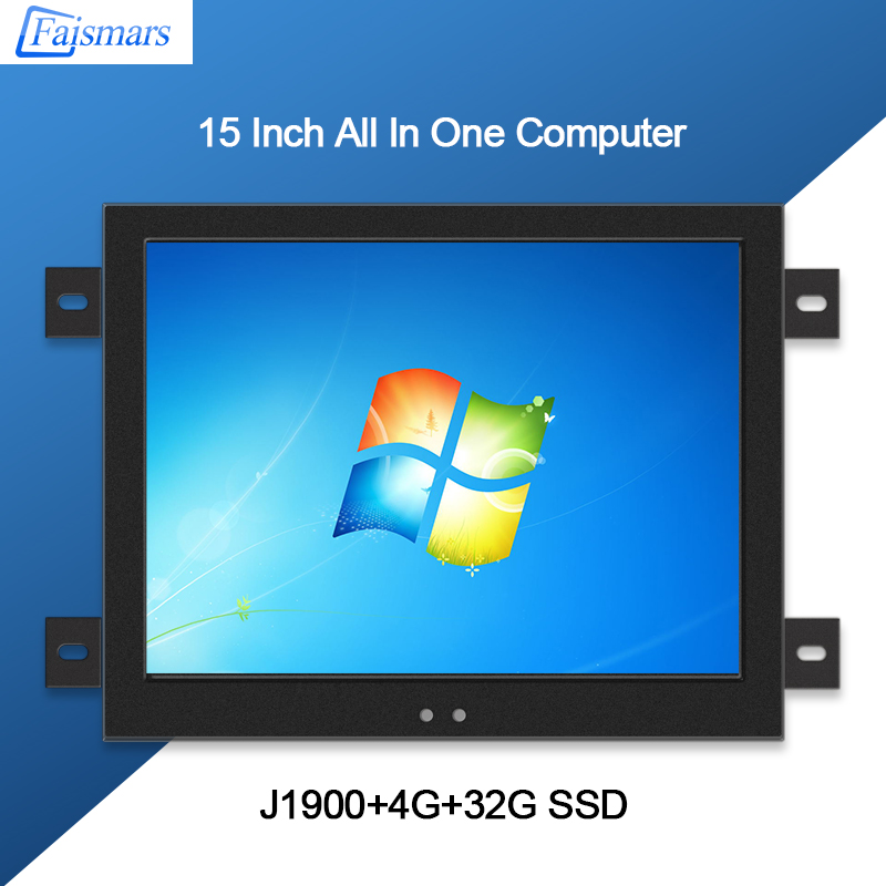 Faismars Desktop Computer 15 Inch Intel J1900 2GHz All In One Touchscreen PC 15 Inch Embedded Frame Rack Mount Touch Panel PC